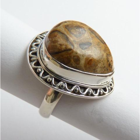 Anel de Prata 925 com Garantia e Pedra Jaspe Picture 9632