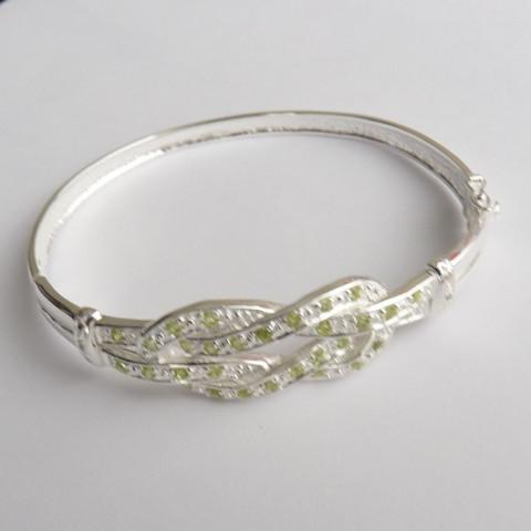 Bracelete de PRATA 925 com Garantia e Pedra Preciosa PERIDOTO e DIAMANTE Naturais 7025