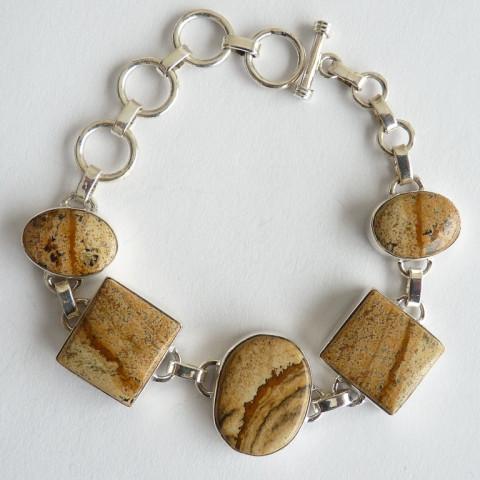 Bracelete Pulseira de Prata 925 Feito à Mão com Garanriae Pedra Preciosa Jaspe Picture Natural 8315