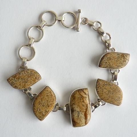 Bracelete de Prata 925 Feito à Mão com Garanriae Pedra Preciosa Jaspe Picture Natural 8317