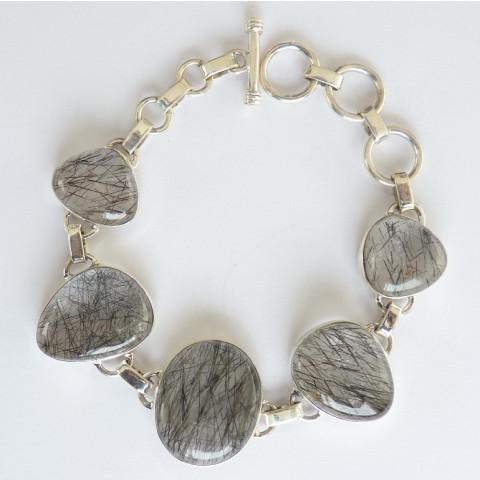 Pulseira Bracelete de Prata 925 com Garantia e Pedra Preciosa Rutilo Negro Cód 7722