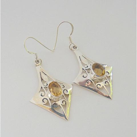 Brinco de Prata 925 com Garantia e Pedra Preciosa Citrino Natural 7864