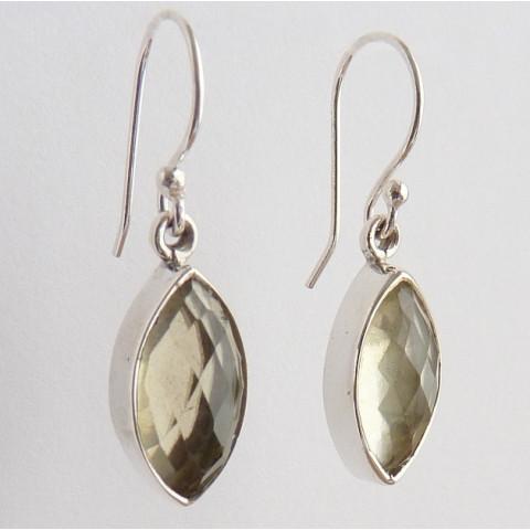 Brinco de Prata 925 com Pedra Preciosa PRASIOLITA Natural 6640