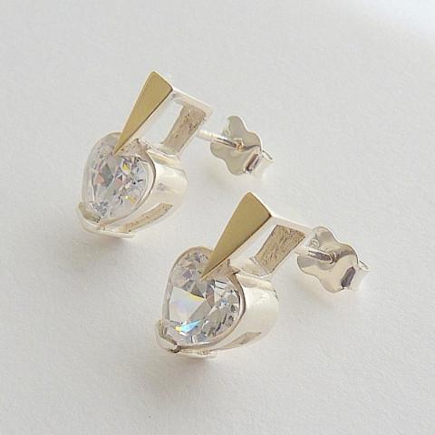 Brinco de Prata 925 com Zircônia  Branca Brilhante e Detalhe Ouro 18k  2530