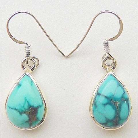 Brinco de Prata 925 com Garantia e Pedra Preciosa Turquesa Natural 7853 B