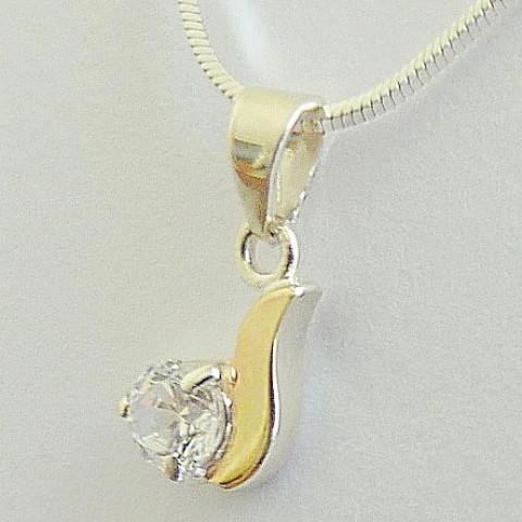 Colar de Prata Italiana 925 com Pingente Zircônia e Detalhe Ouro 55 cm Cód 4147