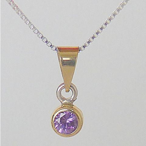 Conjunto Prata 925, 45 cm, Zircônia Ametista, Detalhe Ouro 750, Cod. 2509