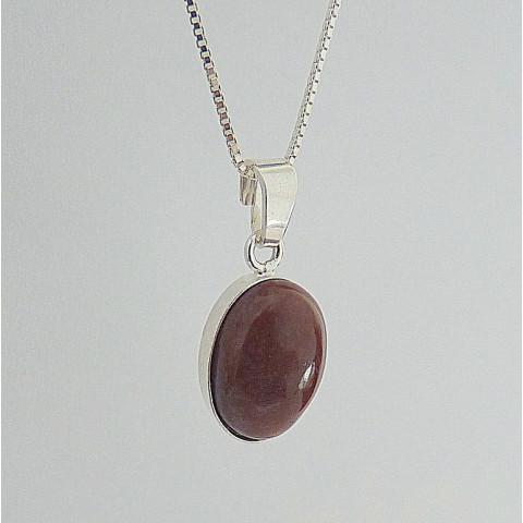 Corrente e Pingente de Prata 925 com Garantia e Pedra preciosa JASPE Cod 4904