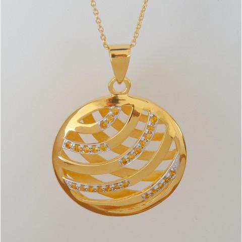 Corrente e Pingente de Prata 925 com Garantia e Banho de Ouro 18K e Pedra Preciosa Citrino Natural 9464