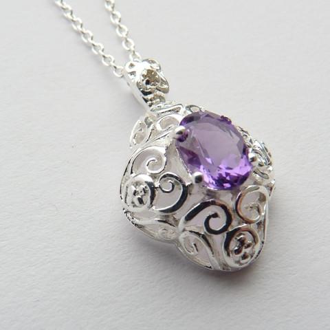 Pingente e Corrente de Prata 925 com garantia e Pedra Preciosa Ametista e Diamante Naturais 7044