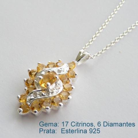 Pingente e Corrente de Prata 925 com garantia e Pedra Preciosa CITRINO e DIAMANTE Naturais 7056