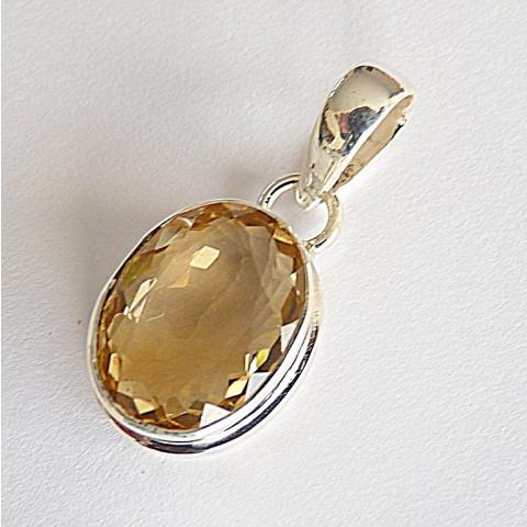 Pingente de Prata 925 com Pedra Preciosa Citrino Natural 7944