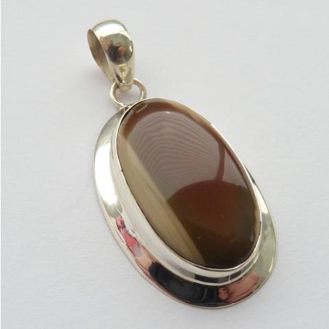 Pingente de Prata 925 Feito à Mão com Garantia e Pedra Preciosa Jaspe Imperial Natural 7814