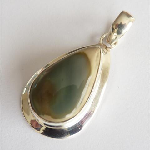 Pingente de PRATA 925 com Garantia e Pedra Preciosa Jaspe Imperial Natural  7931