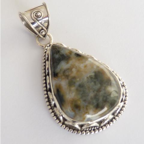Pingente de Prata 925 Feito à Mão com Garantia e Pedra Preciosa Natural Jaspe Picture 7800