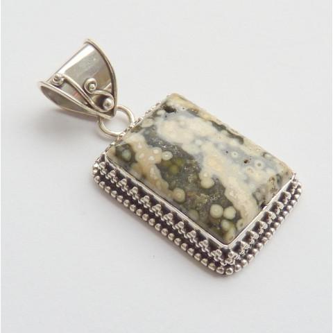 Pingente de PRATA 925 Feito à Mão com Garantia e Pedra Preciosa Jaspe Picture Natural 7942