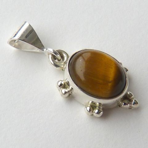 Pingente de Prata 925 com Garantia e Pedra Preciosa Olho de Tigre Natural 5345