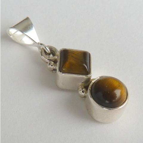 Pingente de Prata 925 com Garantia e Pedra Preciosa Olho de Tigre Natural 5346