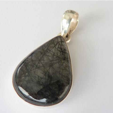 Pingente de Prata 925 com Garantia e Pedra Preciosa Natural Rutilo Negro 7720