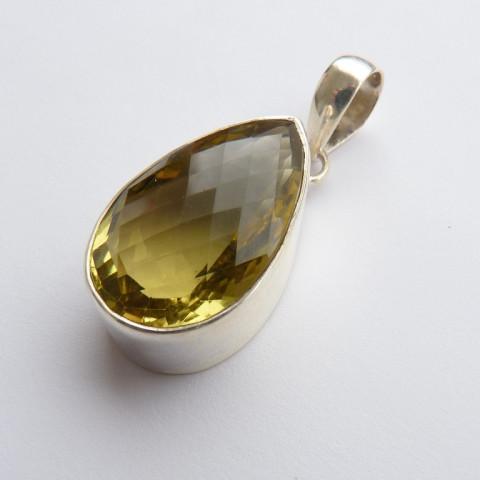 Pingente de Prata 925 com Garantia e Pedra Preciosa Topázio Natural 9644