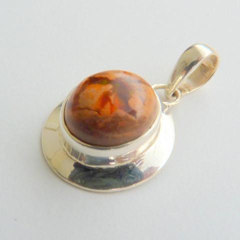 Pingente de Prata 925 com Garantia e Pedra Preciosa  Opala do México Natural 8846