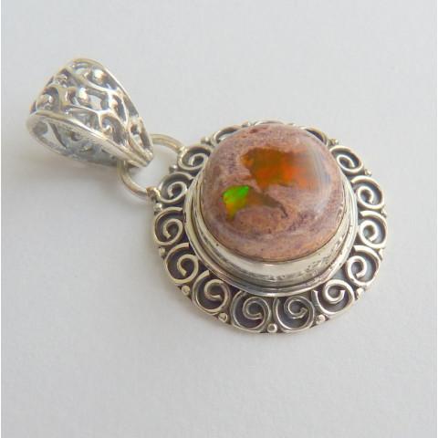 Pingente de Prata 925 com Garantia e Pedra Preciosa  Opala do México Natural 8847