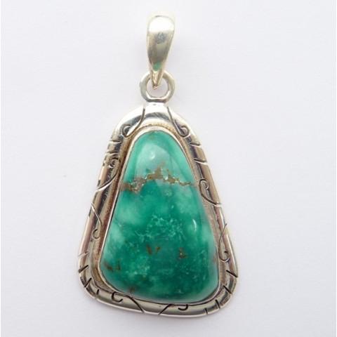 Pingente de Prata 925 com Garantia e Pedra Preciosa Turquesa Natural 8456