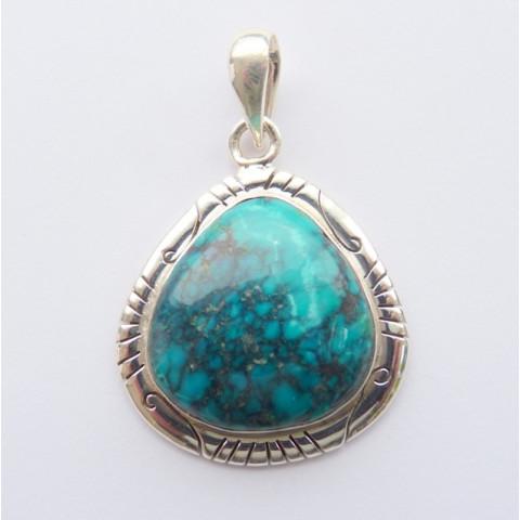 Pingente de Prata 925 com Garantia e Pedra Preciosa Turquesa Natural 8453