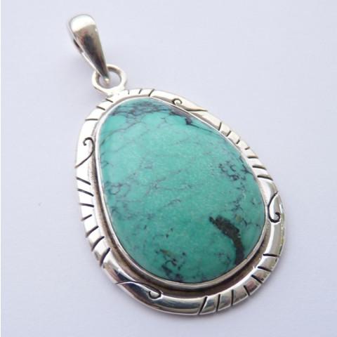 Pingente de Prata 925 com Garantia e Pedra Preciosa Turquesa Natural 8457
