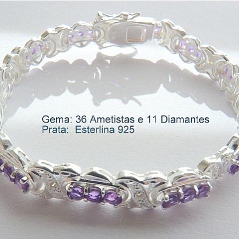 Pulseira Bracelete de Prata 925 com Garantia e Pedra Preciosa AMETISTA e DIAMANTE Naturais 7062