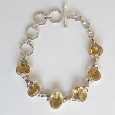 Pulseira Bracelete de Prata 925 com Garantia e Pedra Preciosa Citrino Natural 7702