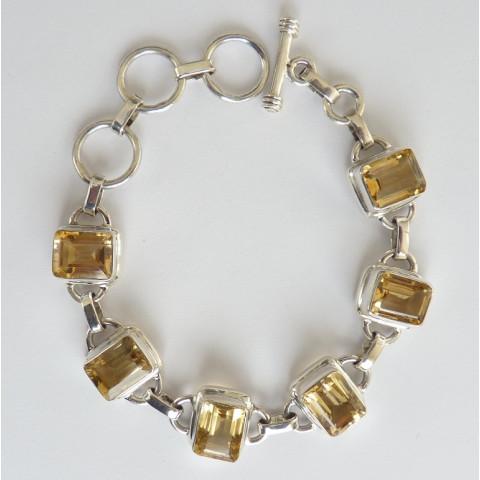 Pulseira Bracelete de Prata 925 com Garantia e Pedra Preciosa CITRINO NATURAL 7703