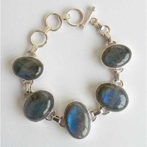 Pulseira Bracelete de Prata 925 com Garantia e Pedra Preciosa Labradorita Azul Natural 7711