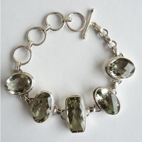 Pulseira Bracelete de Prata 925 com Garantia e Pedra Preciosa PRASIOLITA NATURAL 9601