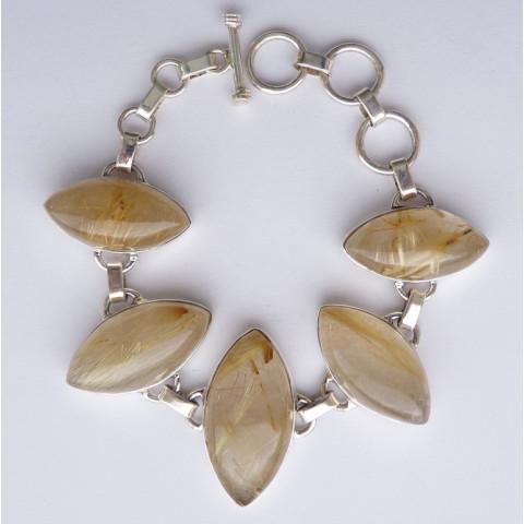 Pulseira Bracelete de Prata 925 com Garantia e Pedra Preciosa Rutilo Ouro Natural 9641