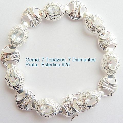 Pulseira Bracelete de Prata 925 com Garantia e pedra Preciosa TOPÁZIO e DIAMANTE Naturais 7032