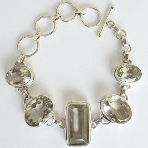 Pulseira Bracelete de Prata 925 com Garantia e PRASIOLITA Natural 7707