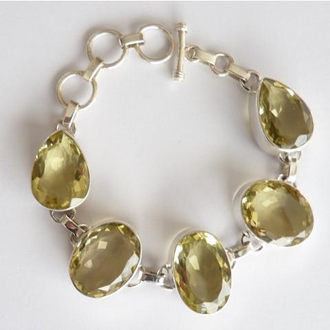 Pulseira Bracelete de Prata 925 com Garantia e Pedra Preciosa Topázio Natural 7744