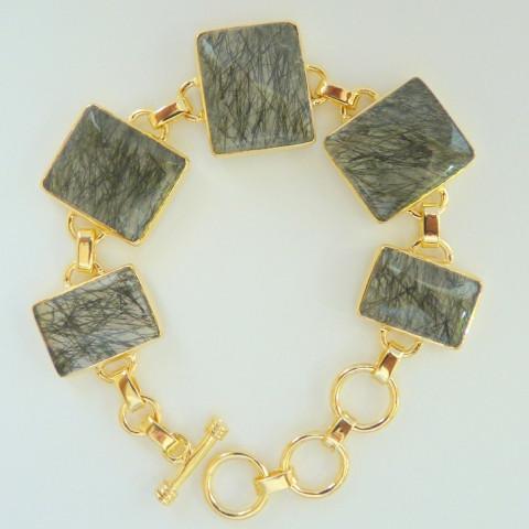 Pulseira Bracelete de Prata 925 com Garantia e Folheado a OURO 18k com Pedra Preciosa Rutilo Negro 7723