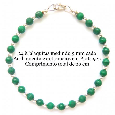 Pulseira De Prata 925 Com Grantia e Malaquita 5382