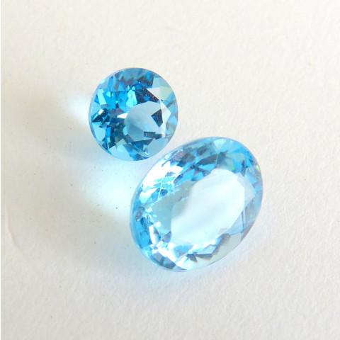 TOPÁZIO NATURAL SWISS BLUE, Pedra Preciosa, 2 Gemas, Cód 3439