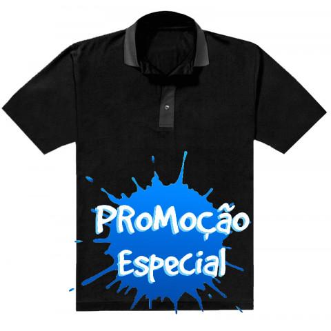 CAMISA POLO PRETA - GOLA CINZA (20278)