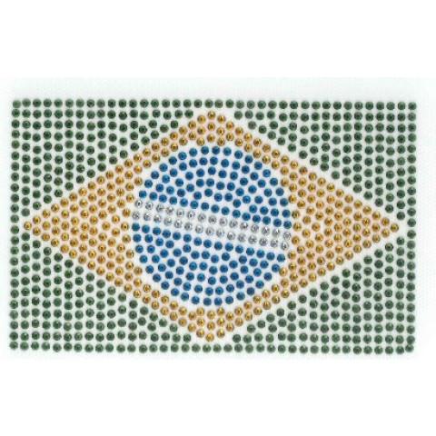 TRANSFER STRASS BANDEIRA BRASIL PEQUENA (868)