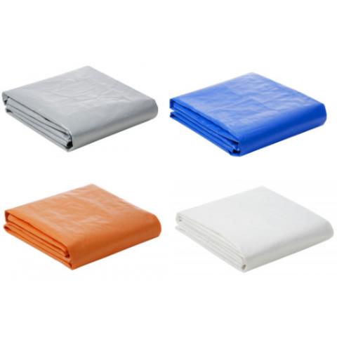 Lona Plástica 300 Micra com Ilhoses 14x8 Azul Branco Prata ou Laranja