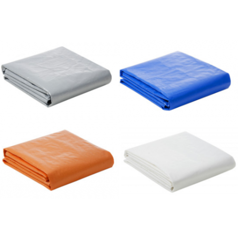 Lona Plástica 300 Micra com Ilhoses 8x6 Azul Branco Prata ou Laranja