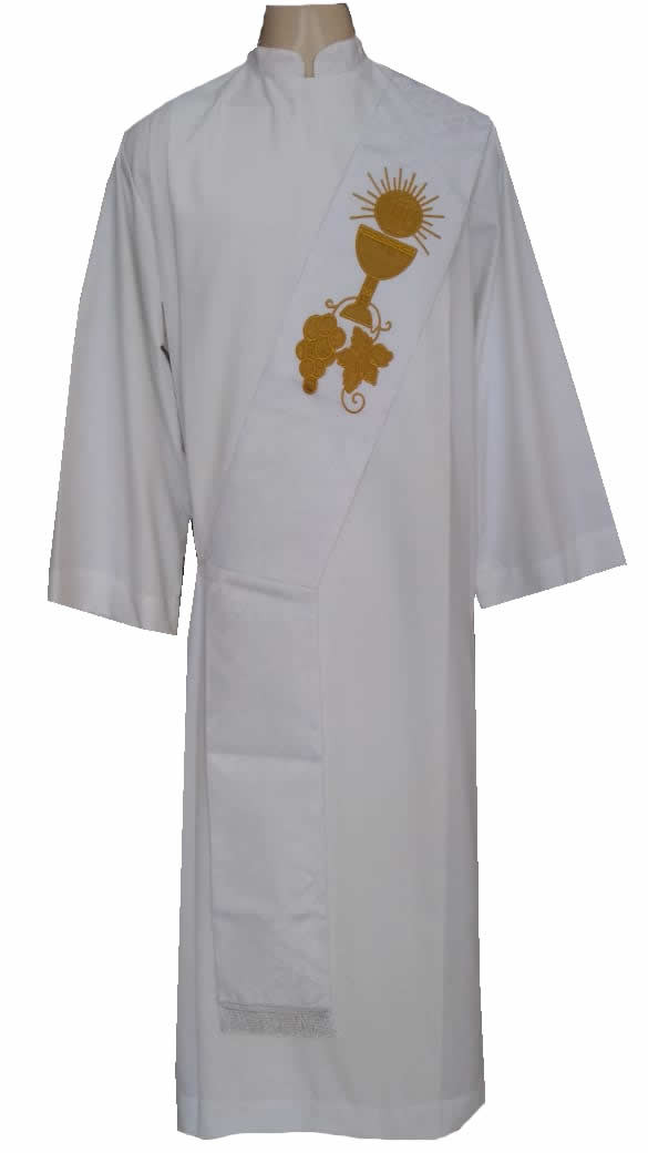 Estola Diaconal Bordada nas cores Branca, Roxa, Verde, Vermelha e Rósea. CÓD: DIAC-008