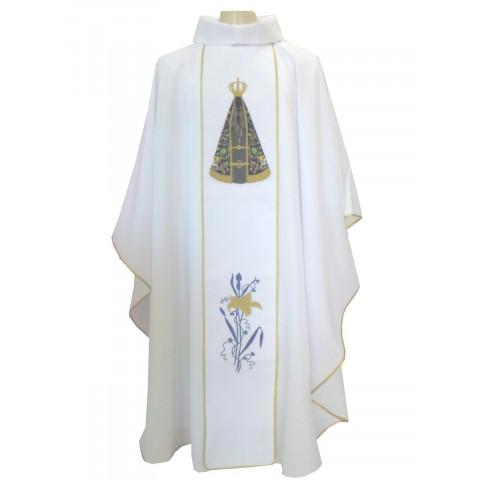 Casula Bordada com imagem de Nossa Senhora Aparecida.CÓD: CAS-051