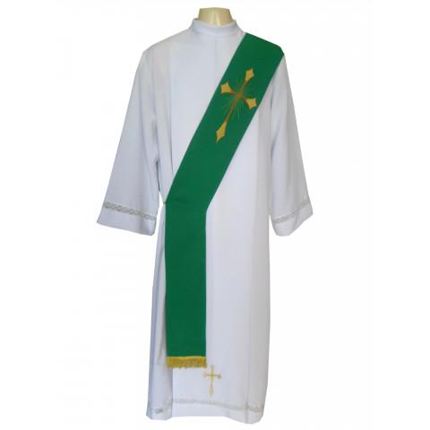 Estola Diaconal Bordada nas cores VERDE, BRANCA, ROXA, VERMELHA E RÓSEA . CÓD: DIAC-005