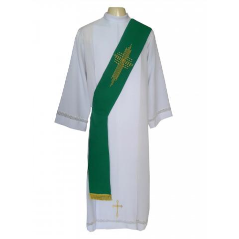 Estola Diaconal Bordada nas cores Verde, Branca, Roxa, Vermelha e Rósea. CÓD: DIAC-006
