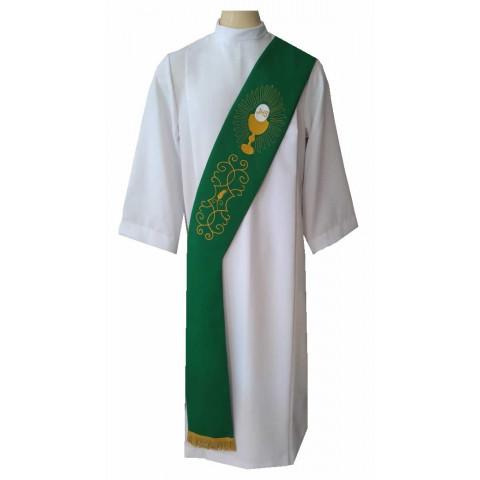 Estola Diaconal Bordada nas cores Verde, Branca, Roxa, Vermelha e Rósea. CÓD: DIAC-002